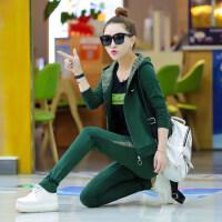 运动套装女大码修身休闲运动服三件套韩版潮时尚卫衣运动服