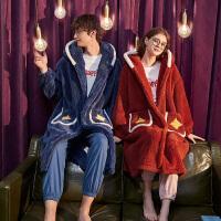 [直降]唐狮新款珊瑚绒情侣睡袍秋冬加厚保暖长款睡衣男女连帽家居服红色