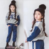儿童加绒套装冬季韩国男童女童休闲卫衣亲子中大童运动套