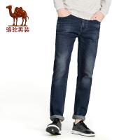 骆驼男装 年春季新款微弹牛仔裤 直筒中腰男士长裤子