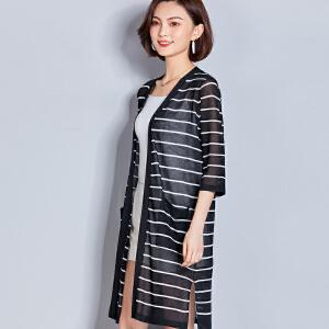 AGECENTRE 2018新款针织开衫女中长款新款夏装韩版薄款宽松条纹披肩外套空调衫