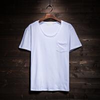 夏季男士日系口袋纯色t恤男短袖圆领修身打底衫半袖上衣服男装潮