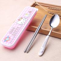 可爱便携餐具三件套学生餐具套装不锈钢筷子卡通儿童勺子叉盒 粉红色 KT无图的筷+勺+盒