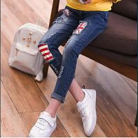 女童牛仔裤春秋童装儿童米子铅笔裤女孩牛仔百搭长裤