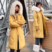 【限时抢购】棉衣女中长款宽松韩版2019新款冬季加厚白毛领收腰显瘦学生大口袋