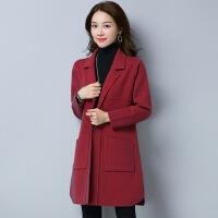 秋冬新款欧美宽松毛衣中长款加厚V领长袖针织打底衫外套女装冬
