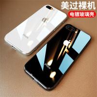 iphone6七8plus玻璃手机壳后八潮牌镜面p苹果7plus网红7p同款2021年新款6splus套男女款8s黑白s