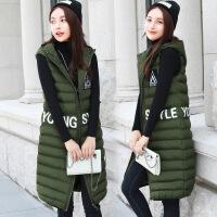 秋冬季韩版无袖女士棉衣加长款棉马甲女修身坎肩连帽外套