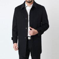 秋冬新款爸爸装羊毛大衣男士大衣中老年男装毛呢大衣中长款厚外套