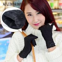 女士秋冬季羊毛手套 修手蕾丝双层保暖手套可爱蝴蝶结女 均码