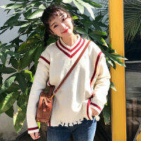 秋冬女装新款韩版个性条纹V领不规则毛边针织外套毛衣学生潮