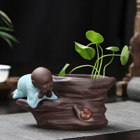 紫砂水培陶花盆禅意陶瓷创意小和尚多肉小花盆茶具装饰品花器摆件 小