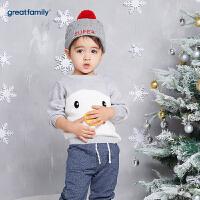 歌瑞家婴儿上衣小企鹅线衫2017冬装新款中小童男宝宝套头毛衣乐友