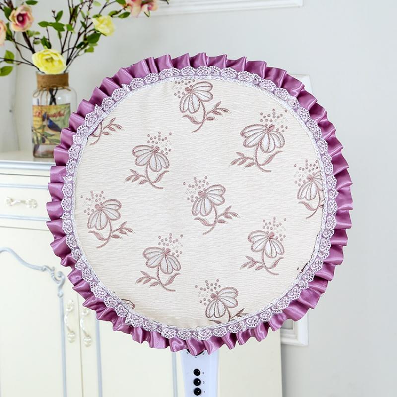 美的风扇罩 尘罩 落地式家用包艾美特欧式布艺圆形电风扇罩套T 酒红色 蝴蝶花蕊紫加大