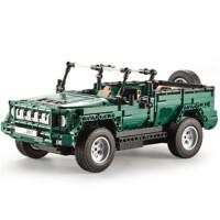 儿童积木玩具 阅兵车吉普车拼装积木玩具汽车模型男孩儿童礼盒装生日礼物