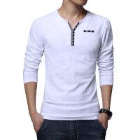 春秋款男士长袖T恤青年V领韩版修身纯色打底衫小衫秋衣上衣潮外穿