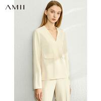 【到手价:196元】Amii洋气休闲时尚套装三件套女2020春装新款小西装外套裤装两件套
