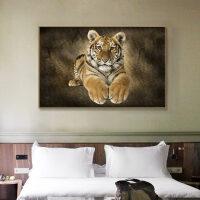 老虎壁画贴纸照片墙贴画客厅装饰品墙上壁纸3D立体画床头墙纸自粘 如图 特大