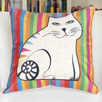 棉麻抱枕汽车家居猫咪靠垫套子 彩色
