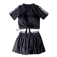 泳衣女分体保守遮肚显瘦运动短袖韩国学生温泉裙式平角聚拢游泳衣