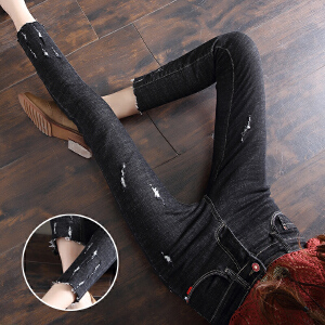 磨烂牛仔裤女夏秋季新款韩版显瘦九分裤小脚铅笔裤女