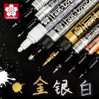 日本樱花油漆笔金色签名笔明星专用签到签字diy黑色记号笔马克笔银色白色防水手绘高光绘画不掉色金属电镀笔