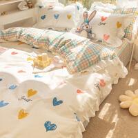 公主风ins纯棉床上用品四件套全棉100女孩房被套少女心床单三件套