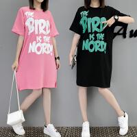 大码女装夏装短袖T恤女胖韩版宽松中长款体恤裙200斤