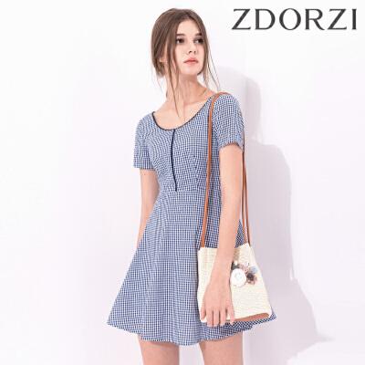 卓多姿夏装新款显瘦短袖格纹修身连衣裙女734356