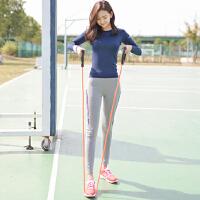 秋冬瑜伽服套装女运动长袖T恤显瘦修身跑步健身房健身衣 套装(上衣+裤子)