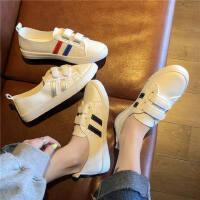 透气低帮休闲平底低帮小单鞋运动板鞋女学生魔术贴小白鞋