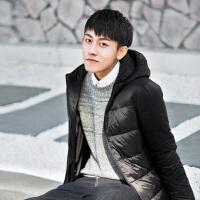 [1.5折价104.9元]唐狮冬季新款短款羽绒服男青少年韩版纯色连帽轻薄休闲外套韩版潮