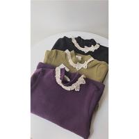 三件女童女宝宝秋冬款磨毛纯棉打底衫 半高领蕾丝领打底衫