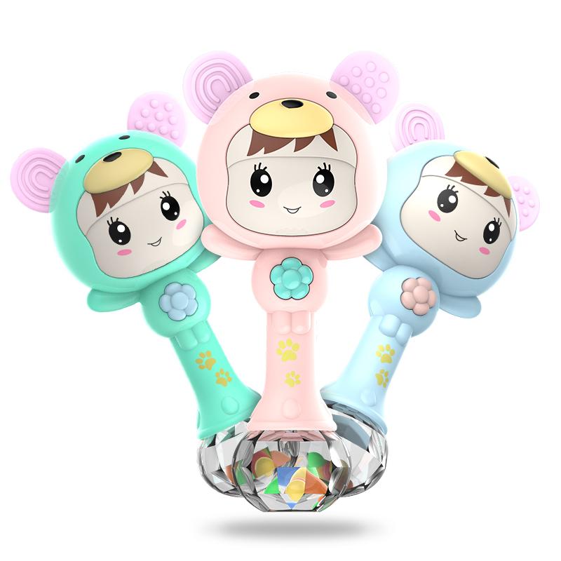 儿童摇铃手摇铃宝宝3-6-12个月玩具0-1岁音乐节奏棒