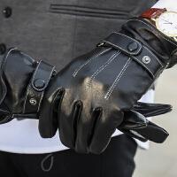 男士皮手套秋冬加绒加厚皮手套男冬天全触屏皮手套骑车手套保暖