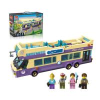 儿童益智玩具积木拼装男孩塑料拼插警车模型5-8-12岁礼物 观光大巴士 1123