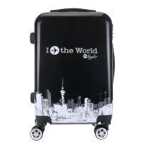 行李箱男拉箱皮箱子万向轮旅行箱韩版密码箱女学生20寸24寸拉杆箱 动物世界 白边
