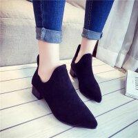 秋冬季加绒女鞋短靴女尖头中跟短筒百搭马丁靴棕色磨砂及踝靴子黑