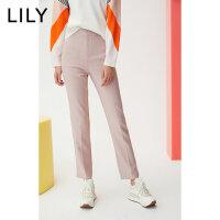 【2件3折 折后价:139】LILY春款女装纯色修身小直筒铅笔九分裤西装裤120120C5221