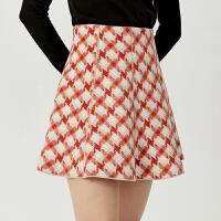 【3件2折 到手价160】LILY女装年轻撞色大千鸟格纹羊毛短裙A字高腰半身裙