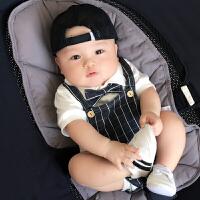 男婴儿连体衣服夏季女宝宝夏装套装0满月哈衣3个月睡衣6超薄款1岁