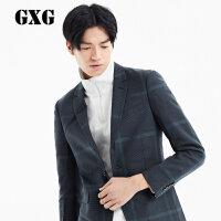 GXG男装外套 秋季热卖男士韩版时尚修身黑绿格休闲西装#53201014