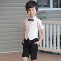 儿童演出服夏 新款花童礼服男童表演小西装马甲短裤套装小学生六一