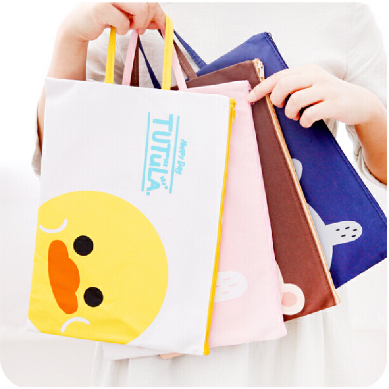 可爱动物A4手提牛津帆布文件袋 韩国学生拉链袋票据考试资料包