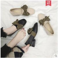 奶奶鞋女复古时尚百搭韩版网红同款方头粗跟仙女单鞋潮蝴蝶结女鞋
