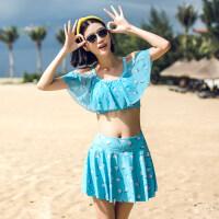 温泉泳衣女 分体裙式小胸聚拢保守显瘦性感两件套少女甜美风泳装