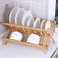 白领公社 置物架 木质双层栅栏碗架可折叠碗盘沥水架竹条拼接简易实用厨房碗碟置物架创意多功能碗栏收纳架