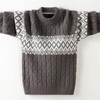 儿童毛衣套头绒厚款冬季中大童圆领麻花针织衫线衣男孩