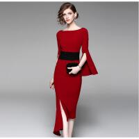 新款名媛高贵优雅显瘦公司年会主持人晚宴会晚礼服女长款 是酒红色不是大红色