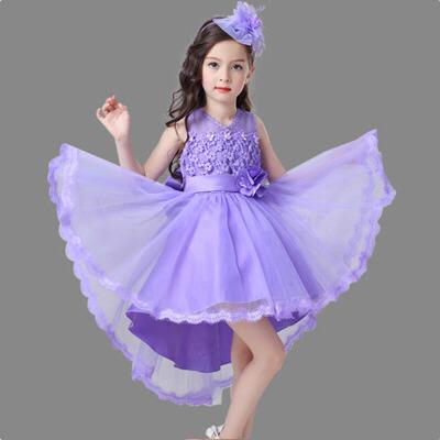 女童公主裙蓬蓬连衣裙婚纱礼服 新款儿童礼服演出服拖尾裙